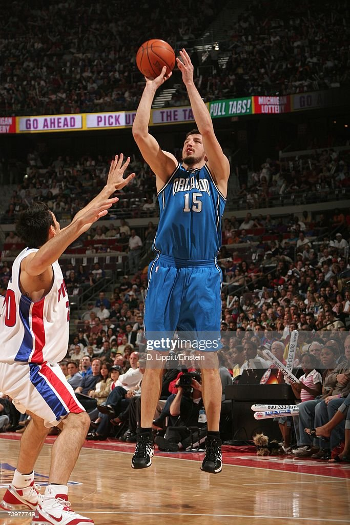 Hedo Turkoglu #15 of the Orlando Magic shoots a jump shot against Carlos Delfino #20 of the Detroit Pistons in Game One of the Eastern Conference Quarterfinals during the 2007 NBA Playoffs at The Palace of Auburn Hills on April 21, 2007 in Auburn Hills, Michigan. The Pistons won 100-92.