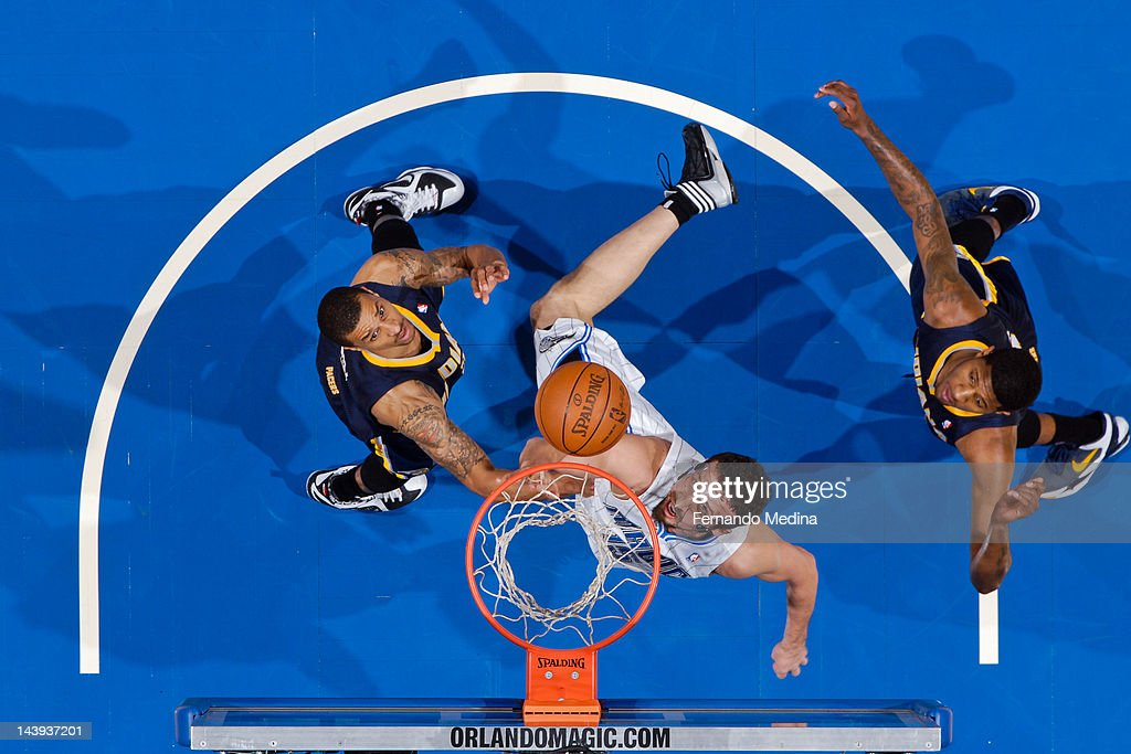 <a gi-track='captionPersonalityLinkClicked' href=/galleries/search?phrase=Hedo+Turkoglu&family=editorial&specificpeople=201639 ng-click='$event.stopPropagation()'>Hedo Turkoglu</a> #15 of the Orlando Magic shoots a layup against George Hill #3 of the Indiana Pacers in Game Four of the Eastern Conference Quarterfinals during the 2012 NBA Playoffs on May 5, 2012 at Amway Center in Orlando, Florida.