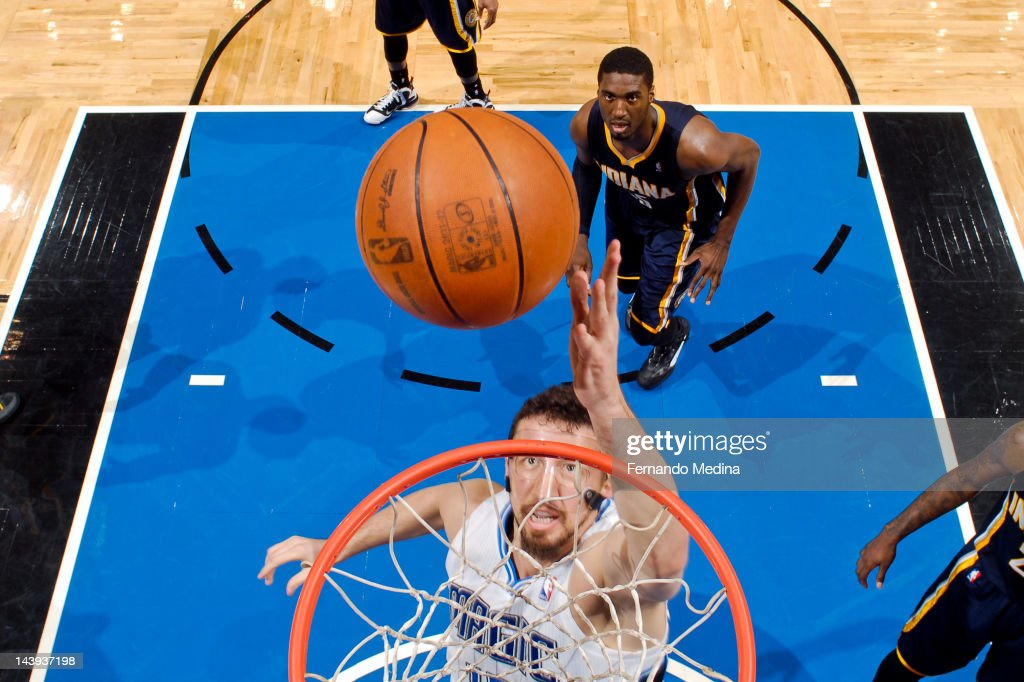 <a gi-track='captionPersonalityLinkClicked' href=/galleries/search?phrase=Hedo+Turkoglu&family=editorial&specificpeople=201639 ng-click='$event.stopPropagation()'>Hedo Turkoglu</a> #15 of the Orlando Magic shoots a layup against the Indiana Pacers in Game Four of the Eastern Conference Quarterfinals during the 2012 NBA Playoffs on May 5, 2012 at Amway Center in Orlando, Florida.