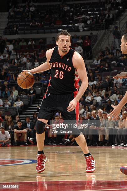 Hedo Turkoglu of the Toronto Raptors looks to make a move during the game against the Detroit Pistons at the Palace of Auburn Hills on April 12 2010...