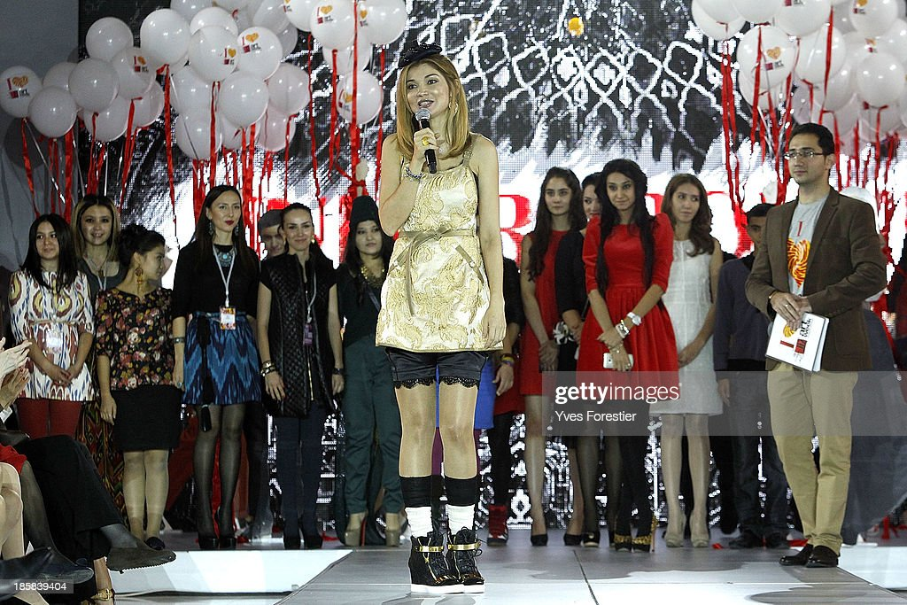 Dr.<a gi-track='captionPersonalityLinkClicked' href=/galleries/search?phrase=Gulnara+Karimova&family=editorial&specificpeople=5748358 ng-click='$event.stopPropagation()'>Gulnara Karimova</a> Chairwoman of the Board of Trustees Fund Forum gives a speech after the Underground youth fashion show at The Youth Art Palace on October 24, 2013 in Tashkent, Uzbekistan.