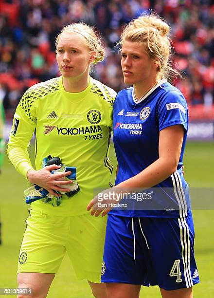 Hedvig Lindahl and Millie Bright of Chelsea look dejected after defeat in the SSE Women's FA Cup Final between Arsenal Ladies and Chelsea Ladies at...