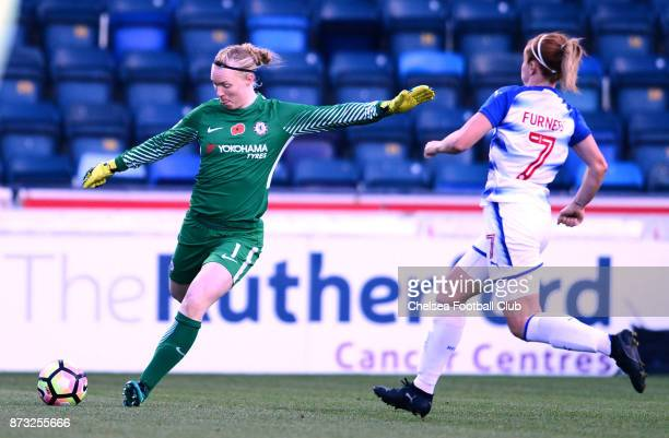 Hedvig Lindahl of Chelsea during a WSL match between Reading Women and Chelsea Ladies at Adams Park on October 12 2017 in Wycombe England