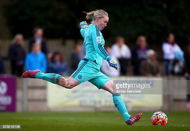 Hedvig Lindahl of Chelsea in action during the SSE Women's FA Cup Semifinal match between Chelsea Ladies FC v Manchester City Women at Wheatsheaf...