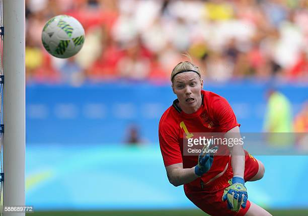 Hedvig Lindahl of Sweden defends the net against the United States in the second half during the Women's Football Quarterfinal match at Mane...