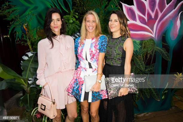 Hedvig Opshaug Carolina GonzalasBunster and Juliatte Angus arrives at Roger Vivier Summer Party at Loulou's on May 22 2014 in London England