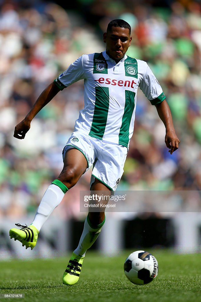 Hedwiges Maduro of Groningen runs with the ball during the friendly match between FC Groningen an FC Southampton at Euroborg Stadium on July 30 2016...