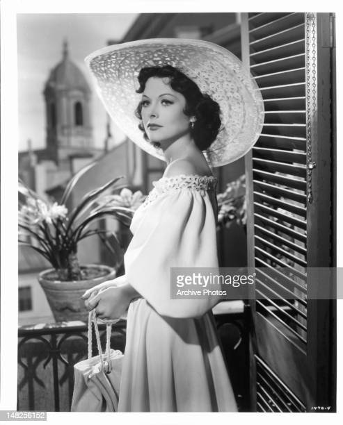 Hedy Lamarr gazes from a balcony in a scene from the film 'A Lady Without A Passport' 1950