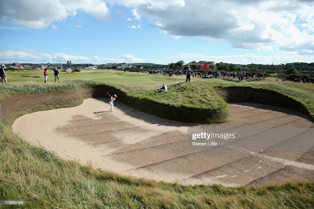 Hee Young Park of Korea hits out of hell bunker on the 14th hole during the final round of the Ricoh Women's British Open at the Old Course St...