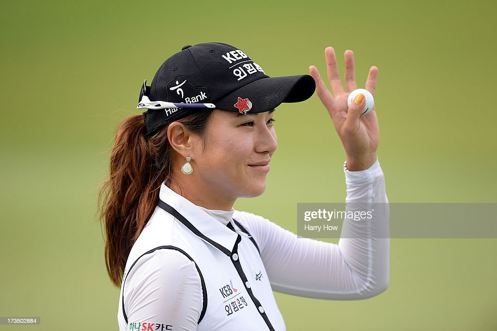 Hee Young Park of South Korea reacts at the end of her round on the 18th hole during round one of the Manulife Financial LPGA Classic at the Grey Silo Golf Course on July 11, 2013 in Waterloo, Canada.