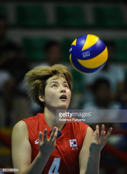 Heejin Kim of Korea serves during the 19th Asian Senior Women's Volleyball Championship 2017 Semifinal match between Thailand and Korea at Alonte...
