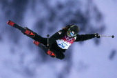 HeeJin Park of South Korea competes in the Freestyle Skiing Ladies' Ski Halfpipe Qualification on day thirteen of the 2014 Winter Olympics at Rosa...