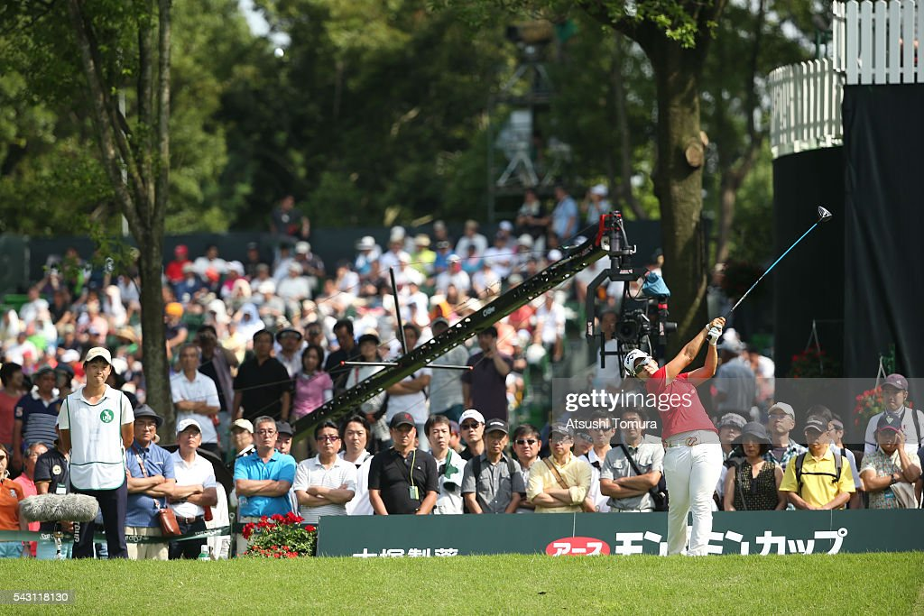 <a gi-track='captionPersonalityLinkClicked' href=/galleries/search?phrase=Hee-Kyung+Bae&family=editorial&specificpeople=13660551 ng-click='$event.stopPropagation()'>Hee-Kyung Bae</a> of South Korea hits her tee shot on the 17th hole during the final round of the Earth Mondamin Cup at the Camellia Hills Country Club on June 25, 2016 in Sodegaura, Japan.