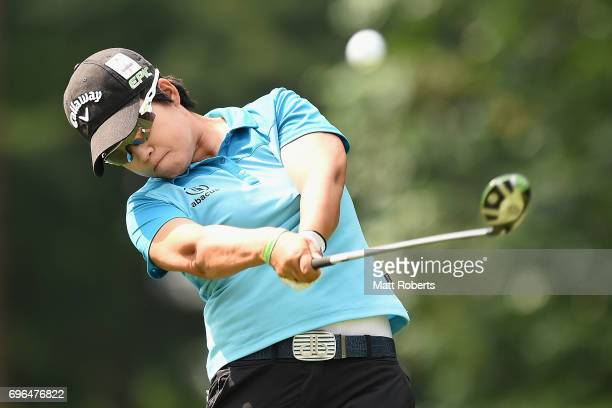 HeeKyung Bae of South Korea hits her tee shot on the 2nd hole during the first round of the Nichirei Ladies at the Sodegaura Country Club Shinsode...