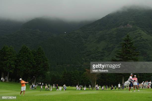HeeKyung Bae of South Korea plays her approach shot on the 9th hole during the final round of the CAT Ladies Golf Tournament HAKONE JAPAN 2017 at the...