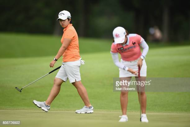 HeeKyung Bae of South Korea prepares to putt during the final round of the CAT Ladies Golf Tournament HAKONE JAPAN 2017 at the Daihakone Country Club...