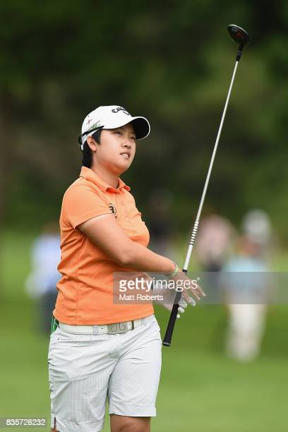 HeeKyung Bae of South Korea watches her second shot on the 9th hole during the final round of the CAT Ladies Golf Tournament HAKONE JAPAN 2017 at the...