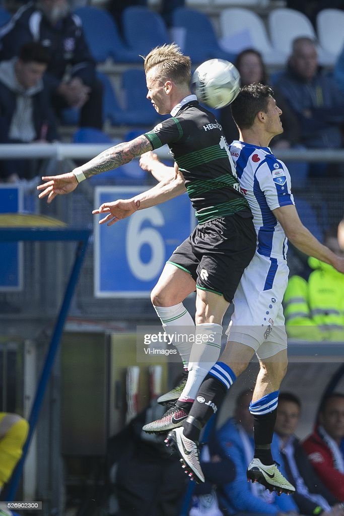 , Heerenveen, Albert Rusnak of FC Groningen, Arber Zeneli of Heerenveen, during the Dutch Eredivisie match between sc Heerenveen and FC Groningen at Abe Lenstra Stadium on May 01, 2016 in Heerenveen, The Netherlands