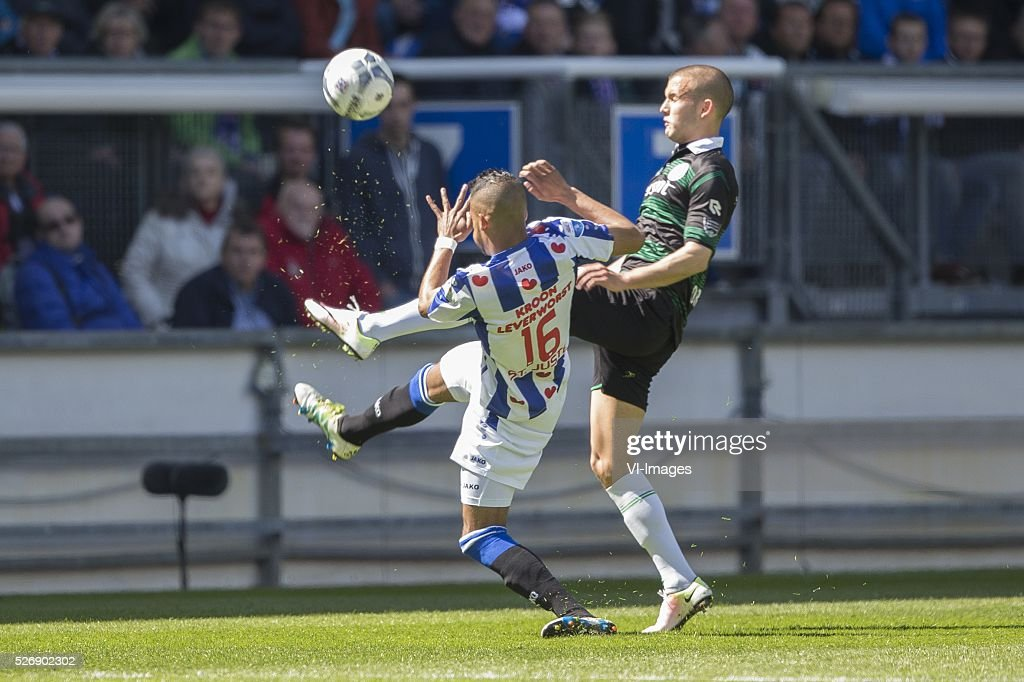 , Heerenveen, Arber Zeneli of Heerenveen, Jesper Drost of FC Groningen, during the Dutch Eredivisie match between sc Heerenveen and FC Groningen at Abe Lenstra Stadium on May 01, 2016 in Heerenveen, The Netherlands