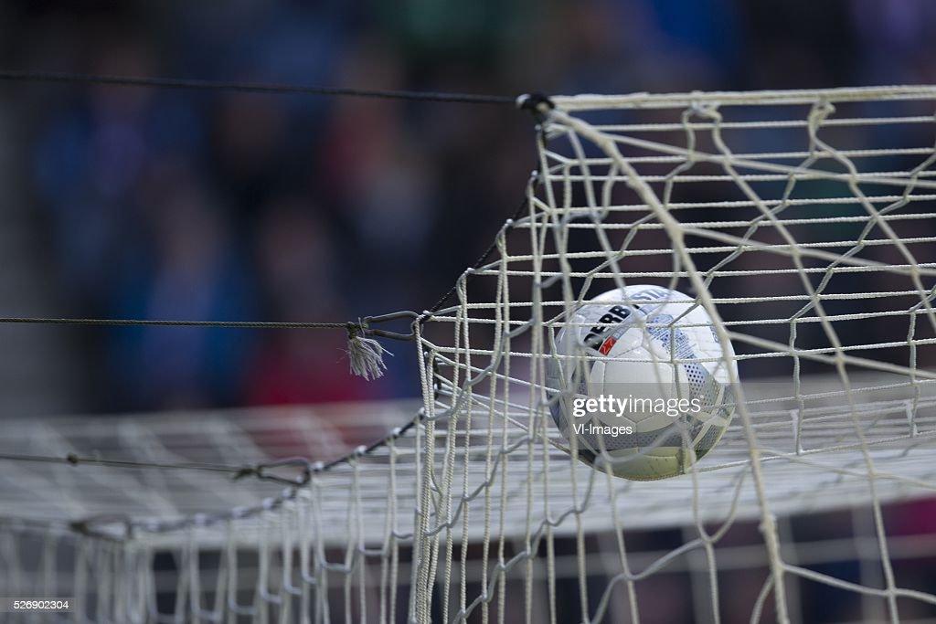 , Heerenveen, bal, net during the Dutch Eredivisie match between sc Heerenveen and FC Groningen at Abe Lenstra Stadium on May 01, 2016 in Heerenveen, The Netherlands