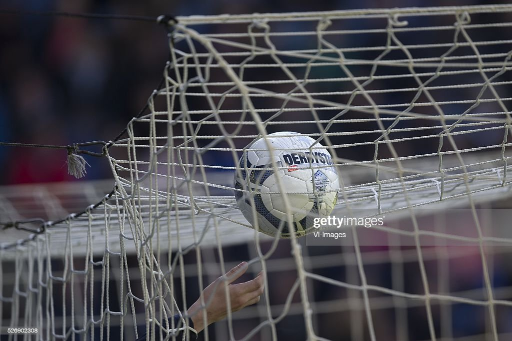 , Heerenveen, bal, net, during the Dutch Eredivisie match between sc Heerenveen and FC Groningen at Abe Lenstra Stadium on May 01, 2016 in Heerenveen, The Netherlands
