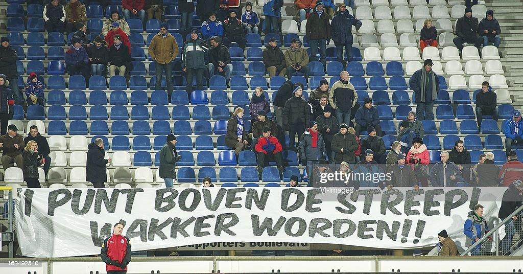 Heerenveen fans banner during the Dutch Eredivisie Match between SC Heerenveen and FC Twente at the Abe Lenstra Stadium on february 23, 2013 in Heerenveen, The Netherlands