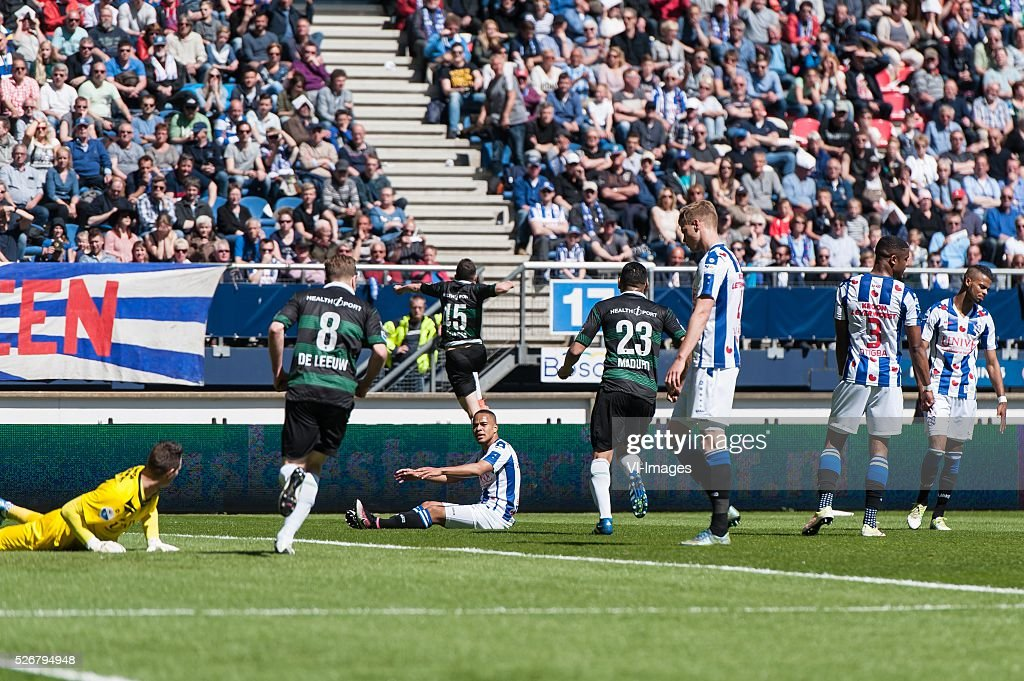 Heerenveen - Fc Groningen. Oussama Idrissi of Fc Groningen scoort 1-1 during the Dutch Eredivisie match between sc Heerenveen and FC Groningen at Abe Lenstra Stadium on May 01, 2016 in Heerenveen, The Netherlands