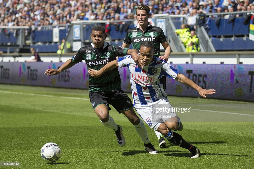 , Heerenveen, Juninho Bacuna of FC Groningen, Juninho Bacuna of FC Groningen, during the Dutch Eredivisie match between sc Heerenveen and FC Groningen at Abe Lenstra Stadium on May 01, 2016 in Heerenveen, The Netherlands