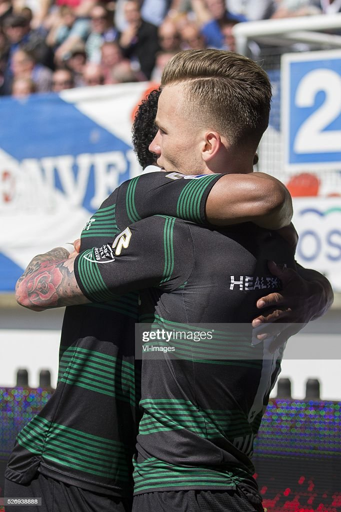 , Heerenveen, Lorenzo Burnet of FC Groningen, Albert Rusnak of FC Groningen, during the Dutch Eredivisie match between sc Heerenveen and FC Groningen at Abe Lenstra Stadium on May 01, 2016 in Heerenveen, The Netherlands