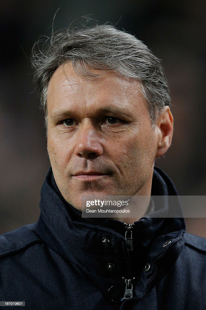Heerenveen Manager / Coach, <a gi-track='captionPersonalityLinkClicked' href=/galleries/search?phrase=Marco+van+Basten&family=editorial&specificpeople=225113 ng-click='$event.stopPropagation()'>Marco van Basten</a> looks on after his team get a draw in the Eredivisie match between Ajax Amsterdam and SC Heerenveen at Amsterdam Arena on April 19, 2013 in Amsterdam, Netherlands.