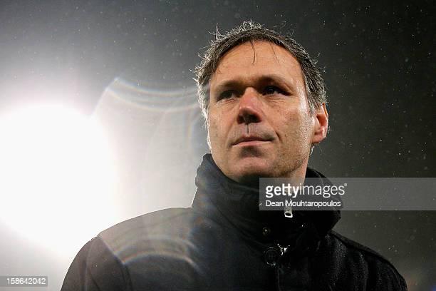 Heerenveen Manager / Coach Marco van Basten looks on after victory in the Eredivisie match between SC Heerenveen and Vitesse Arnhem at Abe Lenstra...