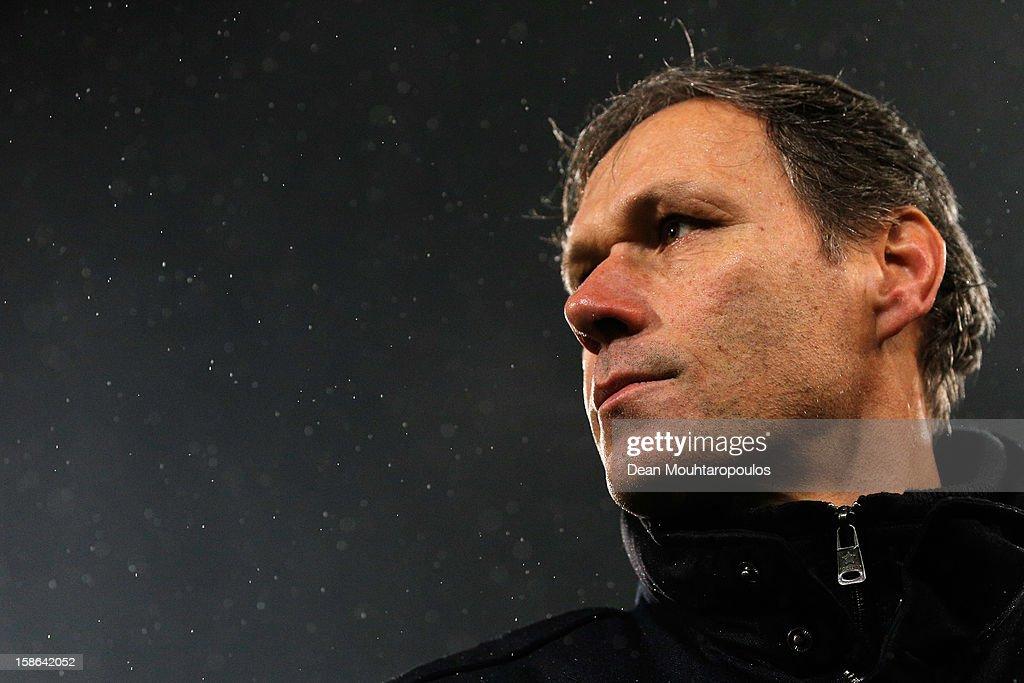 Heerenveen Manager / Coach, Marco van Basten looks on after victory in the Eredivisie match between SC Heerenveen and Vitesse Arnhem at Abe Lenstra Stadion on December 22, 2012 in Heerenveen, Netherlands.
