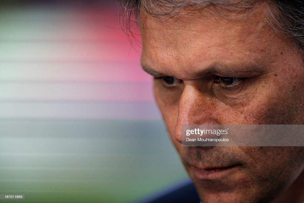 Heerenveen Manager / Coach, <a gi-track='captionPersonalityLinkClicked' href=/galleries/search?phrase=Marco+van+Basten&family=editorial&specificpeople=225113 ng-click='$event.stopPropagation()'>Marco van Basten</a> looks on during the Eredivisie match between Ajax Amsterdam and SC Heerenveen at Amsterdam Arena on April 19, 2013 in Amsterdam, Netherlands.