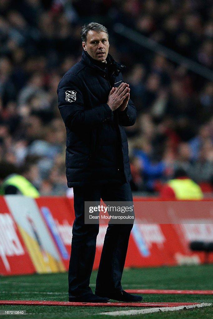 Heerenveen Manager / Coach, Marco van Basten reacts on the sidelines during the Eredivisie match between Ajax Amsterdam and SC Heerenveen at Amsterdam Arena on April 19, 2013 in Amsterdam, Netherlands.