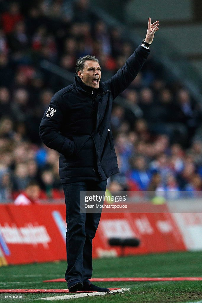 Heerenveen Manager / Coach, <a gi-track='captionPersonalityLinkClicked' href=/galleries/search?phrase=Marco+van+Basten&family=editorial&specificpeople=225113 ng-click='$event.stopPropagation()'>Marco van Basten</a> reacts on the sidelines during the Eredivisie match between Ajax Amsterdam and SC Heerenveen at Amsterdam Arena on April 19, 2013 in Amsterdam, Netherlands.