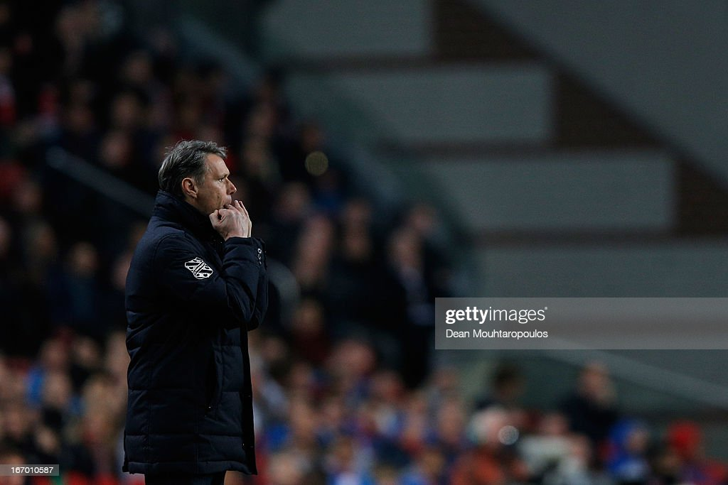 Heerenveen Manager / Coach, <a gi-track='captionPersonalityLinkClicked' href=/galleries/search?phrase=Marco+van+Basten&family=editorial&specificpeople=225113 ng-click='$event.stopPropagation()'>Marco van Basten</a> screams instructions to his team during the Eredivisie match between Ajax Amsterdam and SC Heerenveen at Amsterdam Arena on April 19, 2013 in Amsterdam, Netherlands.