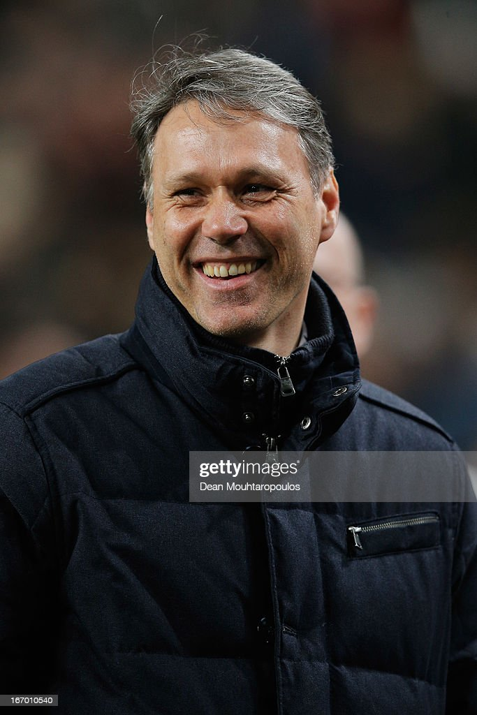 Heerenveen Manager / Coach, <a gi-track='captionPersonalityLinkClicked' href=/galleries/search?phrase=Marco+van+Basten&family=editorial&specificpeople=225113 ng-click='$event.stopPropagation()'>Marco van Basten</a> smiles after his team get a draw in the Eredivisie match between Ajax Amsterdam and SC Heerenveen at Amsterdam Arena on April 19, 2013 in Amsterdam, Netherlands.