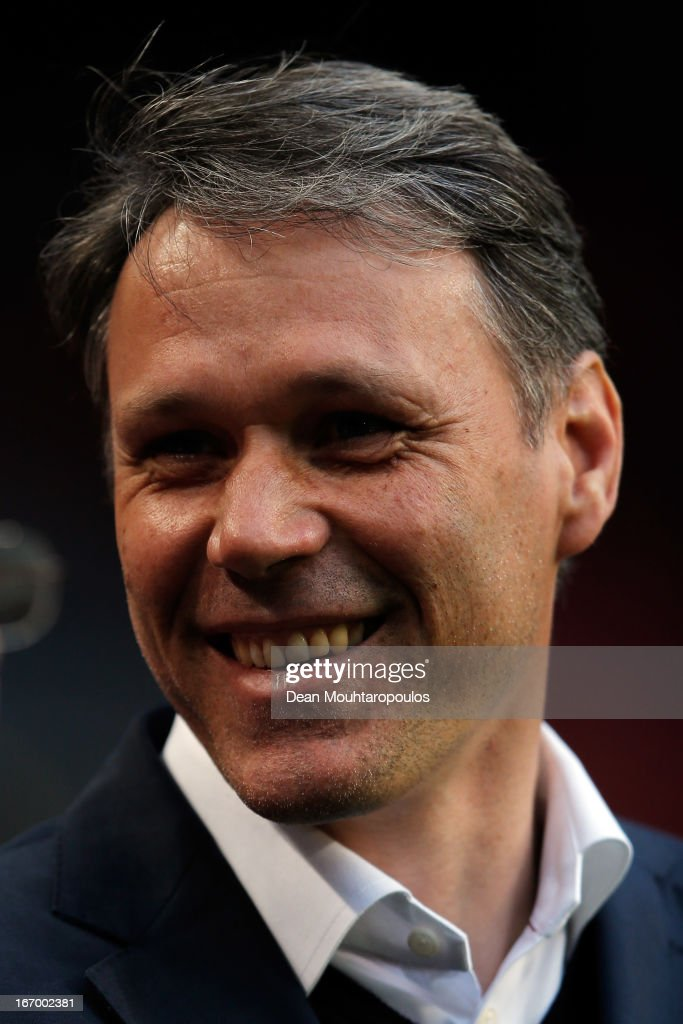 Heerenveen Manager / Coach, <a gi-track='captionPersonalityLinkClicked' href=/galleries/search?phrase=Marco+van+Basten&family=editorial&specificpeople=225113 ng-click='$event.stopPropagation()'>Marco van Basten</a> smiles during the Eredivisie match between Ajax Amsterdam and SC Heerenveen at Amsterdam Arena on April 19, 2013 in Amsterdam, Netherlands.