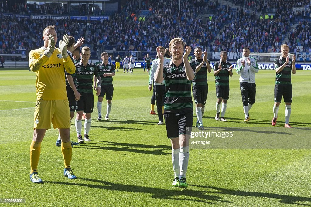 , Heerenveen, Sergio Padt of FC Groningen, Rasmus Lindgren of FC Groningen, during the Dutch Eredivisie match between sc Heerenveen and FC Groningen at Abe Lenstra Stadium on May 01, 2016 in Heerenveen, The Netherlands