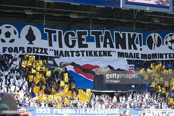 Heerenveen sfeer actie spandoek groot during the Dutch Eredivisie match between sc Heerenveen and FC Groningen at Abe Lenstra Stadium on May 01 2016...