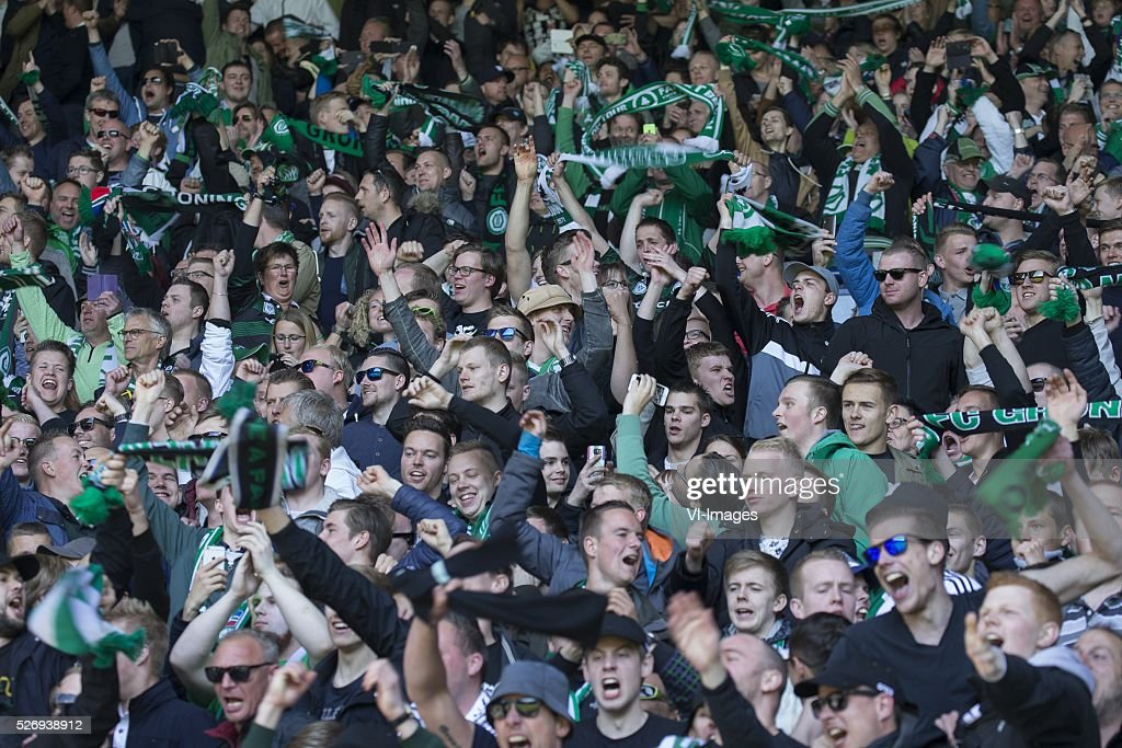 , Heerenveen, supporters during the Dutch Eredivisie match between sc Heerenveen and FC Groningen at Abe Lenstra Stadium on May 01, 2016 in Heerenveen, The Netherlands