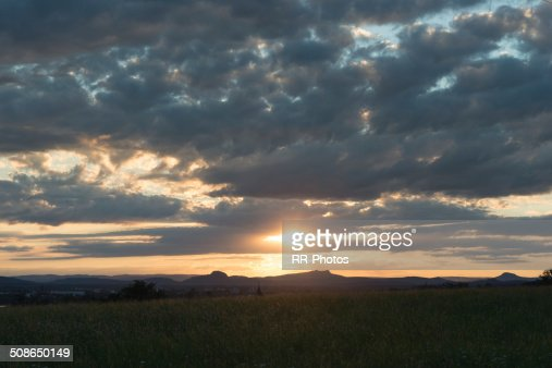 Hegau backlit scenery, Germany - near switzerland : Stock Photo