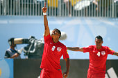 Heiarii Tavanae of Tahiti celebrates a goal during the FIFA Beach Soccer World Cup Portugal 2015 Group D match between Tahiti and Madagascar at...