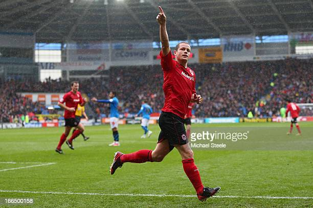 Heidar Helguson of Cardiff City celebrates scoring the opening goal during the npower Championship match between Cardiff City and Nottingham Forest...