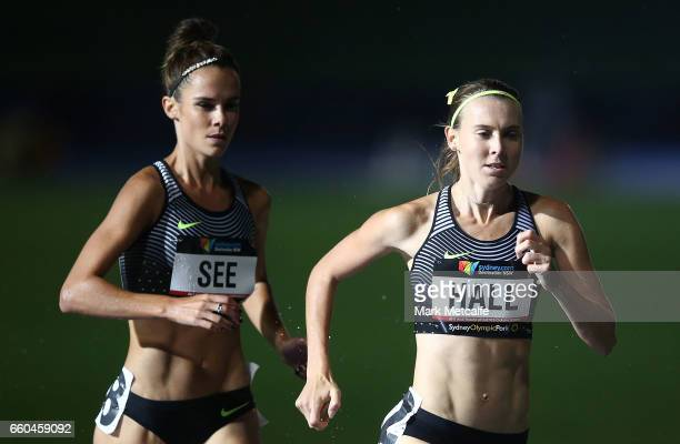 Heide See of NSW and Linden Hall of Victoria compete in the womens open 1500m during day five of the 2017 Australian Athletics Championships at...