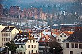 Heidelberg Castle and houses.