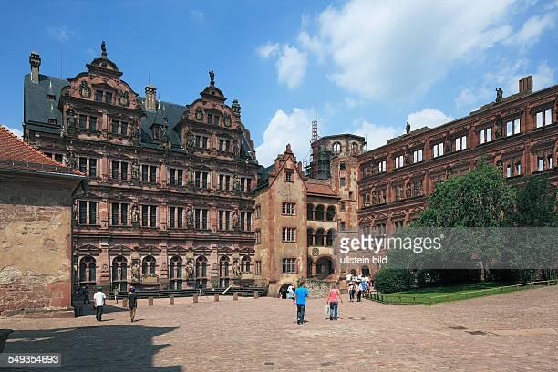 Heidelberg Castle castle ruin palace courtyard patio Friedrich building bell tower Ottheinrich building