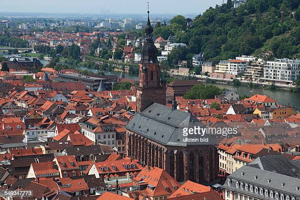 Heidelberg city panorama view across the old town with Holy Spirit Church and the Neckar to Neuenheim