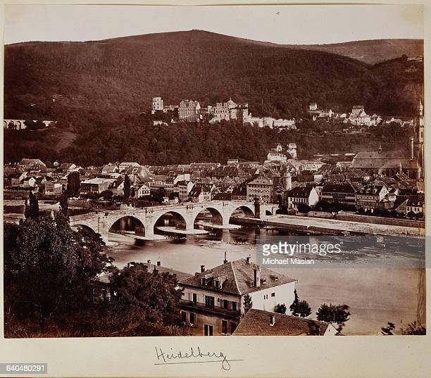 Heidelberg Germany from across the river ca 1890 The castle is on the hill above the buildings of the town The Old Bridge or KarlTheodor Brucke...