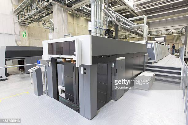 A Heidelberg Speedmaster XL 106 industrial printing press stands at the Heidelberger Druckmaschinen AG factory in Wiesloch Germany on Thursday April...